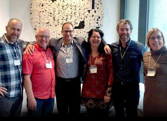 La délégation madelinienne en compagnie de Jean-Paul Lebel et Chantal Paradis de l'Économusée des liquoristes à Val-Brillant